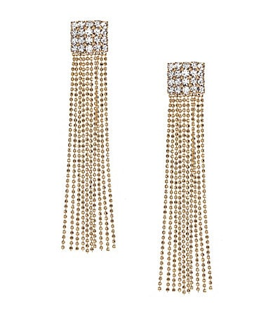 Natasha Accessories Crystal Fringe Linear Earrings