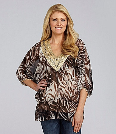 Calessa Animal-Print Chiffon Blouse