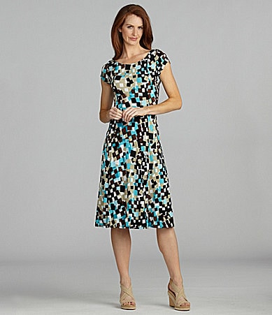 Jessica Howard Petites Mosaic Matte Jersey Dress