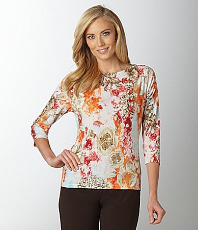 Investments Petites Floral-Print Boatneck Top