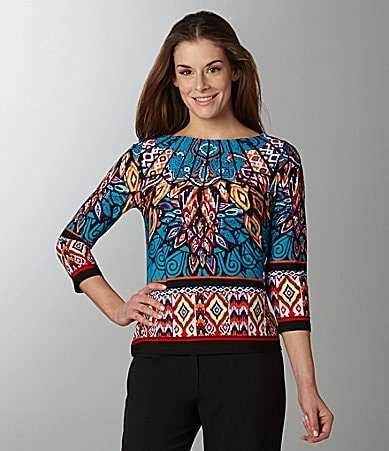 Investments II Printed Boatneck Top