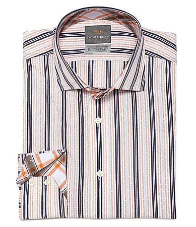 Thomas Dean Big & Tall Dash Striped Sportshirt