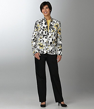 Samantha Grey Textured Floral Jacket, Short-Sleeve Shell & Flat Front Pants