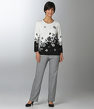 Samantha Grey Floral-Butterfly Border Top & Flat Front Pants