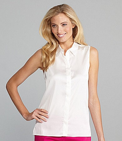 Chaus Sleeveless Button Front Shirt