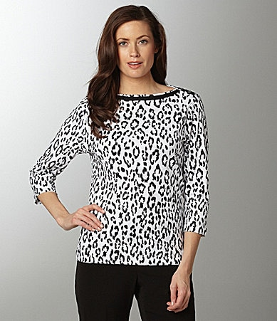 Westbound Animal-Print Boatneck Top