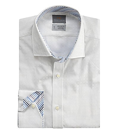 Thomas Dean Tonal Windowpane Plaid Sportshirt