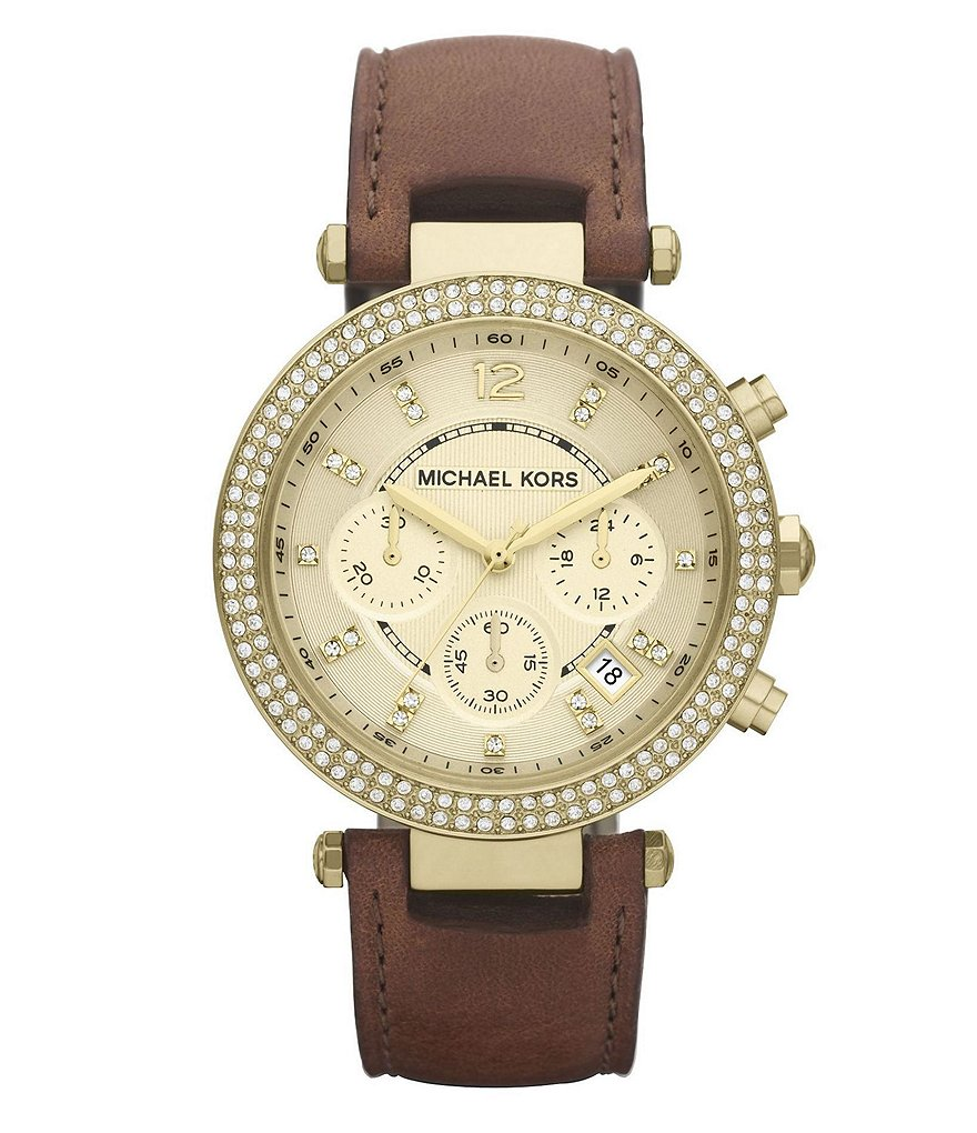 Michael Kors Parker Brown Leather Chronograph Watch