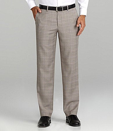 Murano Plaid Flat-Front Dress Pants