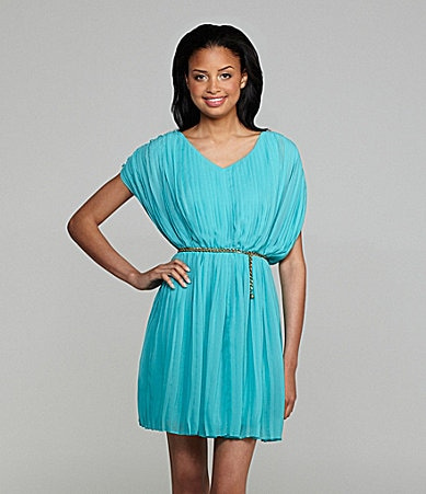 Jessica Simpson V-Neck Pleated Dress