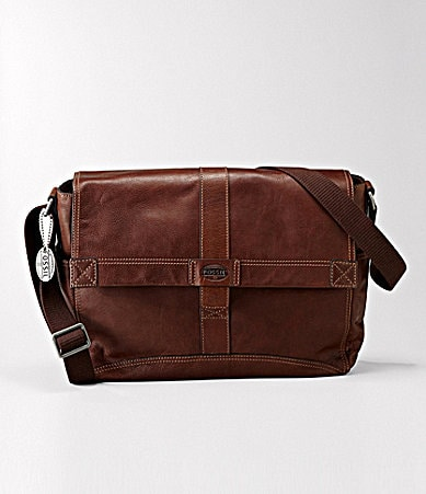 Fossil Trail Leather Messenger Bag