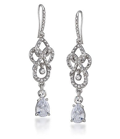 Carolee Classic Sparkle Scroll Linear Earrings
