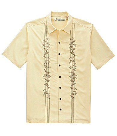 Caribbean Big & Tall Embroidered Leaf Woven Shirt