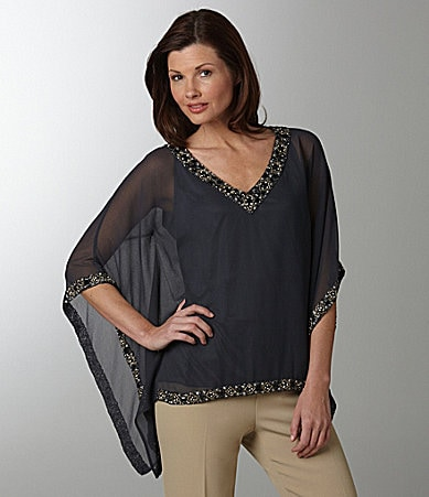 Jkara Beaded Chiffon Blouse