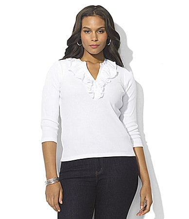 Lauren Ralph Lauren Woman Rosie Cotton Ruffle V-Neck Top