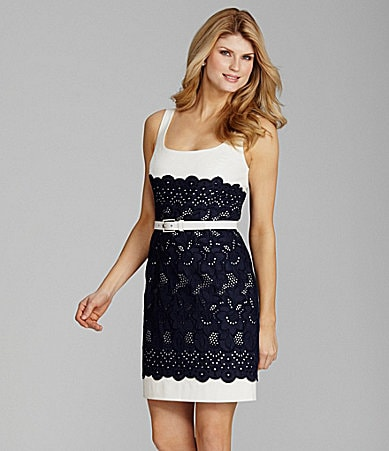 Antonio Melani Caroline Belted Eyelet-Lace Dress