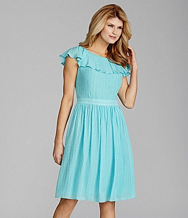 Antonio Melani Coleena Gingham Chiffon Ruffled Dress