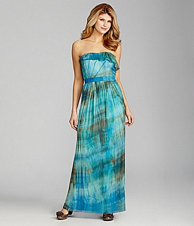 Antonio Melani Naomie Strapless Ruffled Maxi Dress
