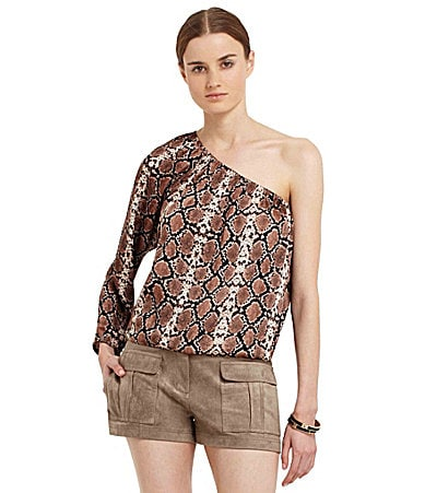 BCBGMAXAZRIA One-Shoulder Snake-Print Blouse