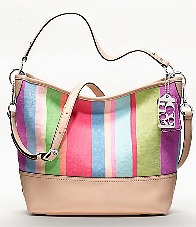 COACH HAMPTONS WEEKEND STRIPE SHOULDER BAG