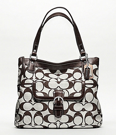 COACH POPPY SIGNATURE C CROSSHATCH CANVAS GLAM TOTE