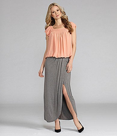 M.S.S.P. Georgette Bubble Blouse & Faux-Wrap Maxi Skirt
