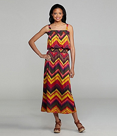 Sunny Taylor Chevron-Print Maxi Dress