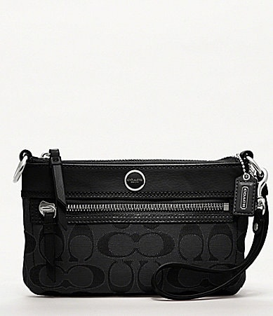 COACH POPPY SIGNATURE SATEEN METALLIC LARGE WRISTLET