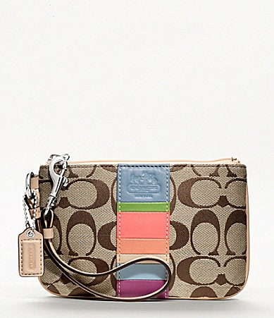 COACH HAMPTONS WEEKEND SIGNATURE STRIPE SMALL WRISTLET