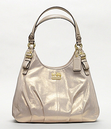 COACH MADISON METALLIC LEATHER MAGGIE SHOULDER BAG