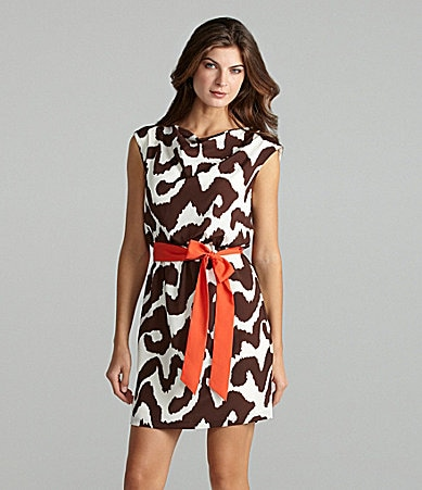 Eliza J Drape Neck Print Dress