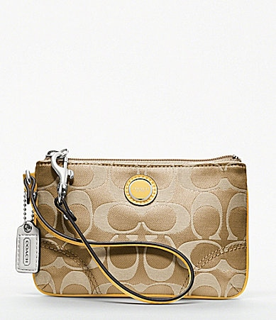 COACH POPPY SIGNATURE SATEEN SMALL WRISTLET