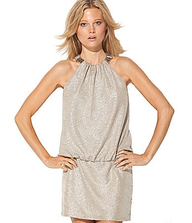 Laundry by Shelli Segal Bead-Neck Blouson Dress