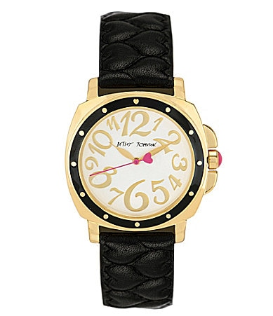 Betsey Johnson Black Quilted Heart Strap Watch