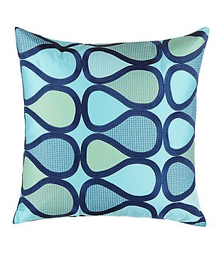Trina Turk Blue Peacock Abstract Teardrop-Embroidered Square Pillow