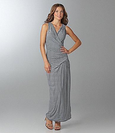 M.S.S.P. Striped Faux-Wrap Maxi Dress