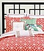 Color:Coral - Image 3 - Trina Turk Trellis Embroidered Pillow
