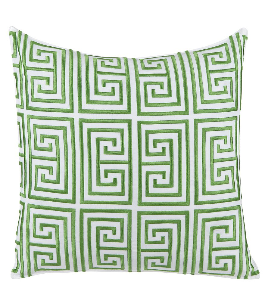Trina Turk Trellis Greek Key-Embroidered Pillow