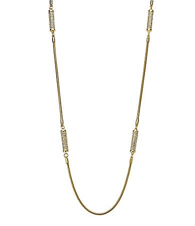 Michael Kors Long Pave Barrel Necklace