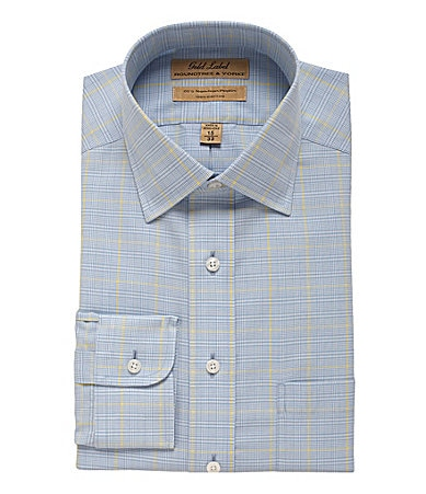 Roundtree & Yorke Gold Label Plaid Poplin Dress Shirt