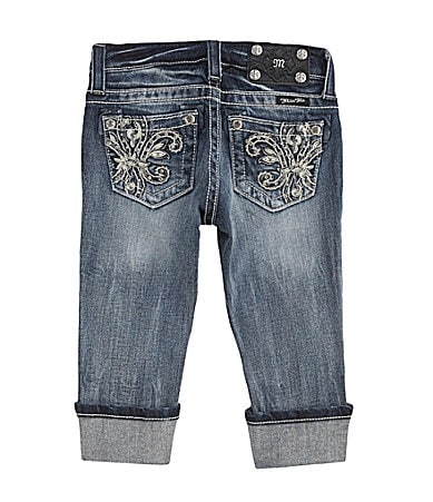 Miss Me Girls 7-16 Fleur-de-Lis Pocket Denim Capris