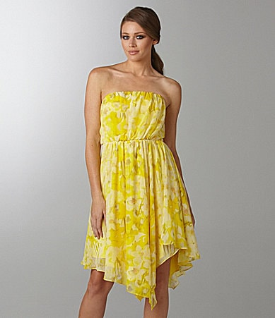 Vince Camuto Strapless Pleated Floral Dress