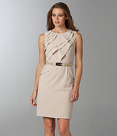 Vince Camuto Belted Asymmetrical-Ruffle Dress