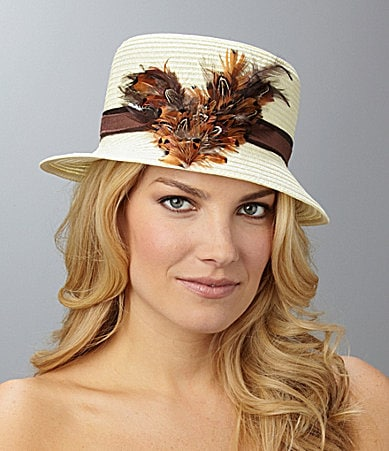 Antonio Melani Feather Cloche Hat
