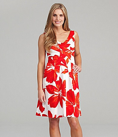 Jones New York Sleeveless Floral-Print Dress