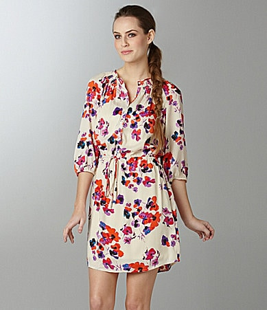 Kensie Watercolor Poppies Print Dress