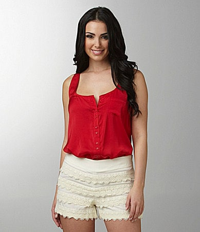 Kensie French Button-Front Chiffon Tank Top
