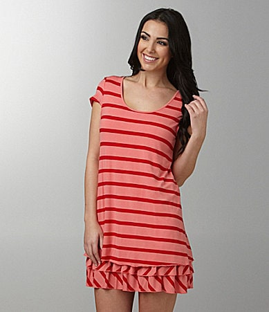 Kensie Stripe Ruffle-Hem Dress