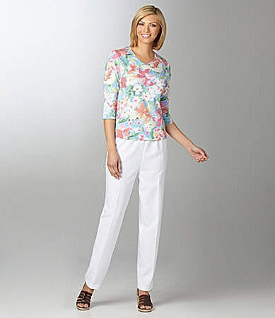 Allison Daley Petites Floral Printed Knit Top & Pull-On Pants