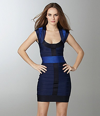 French Connection Ribbon-Knit Bandage Dress